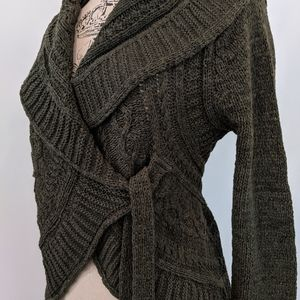 BCBG Wrap Forest Green Sweater
